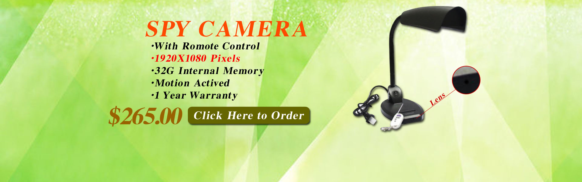 Light Spy Camera 1080P HD Spy DVR Pinhole Spy Camera 32GB Internal Memory